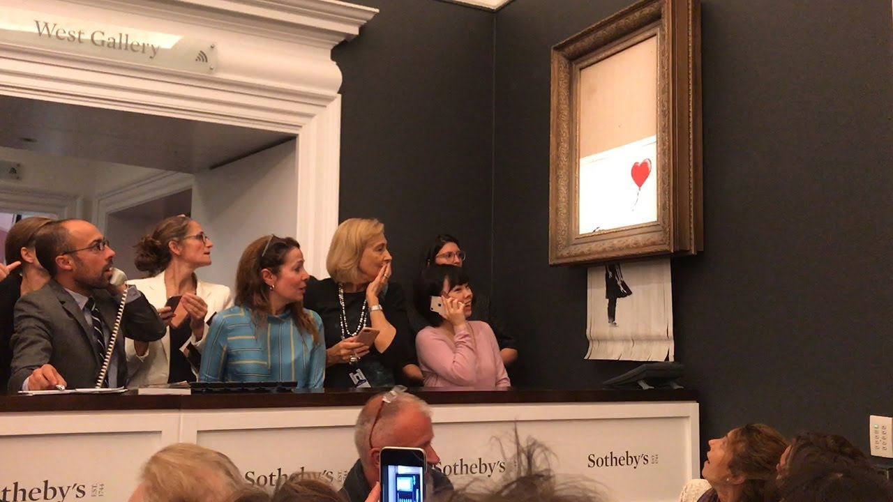 One of Banksy's paintings self-destructed just after it was