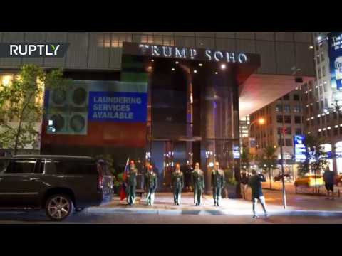 'Brace yourself brother,' Putin projected onto Trump Soho Hotel