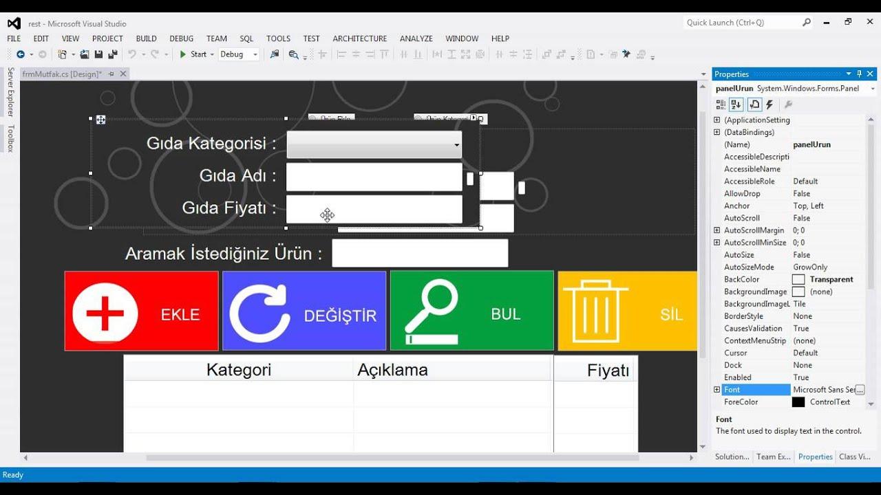 C# Restaurant Otomasyon | Ders - 68 Urun ekleme Form Tasarım