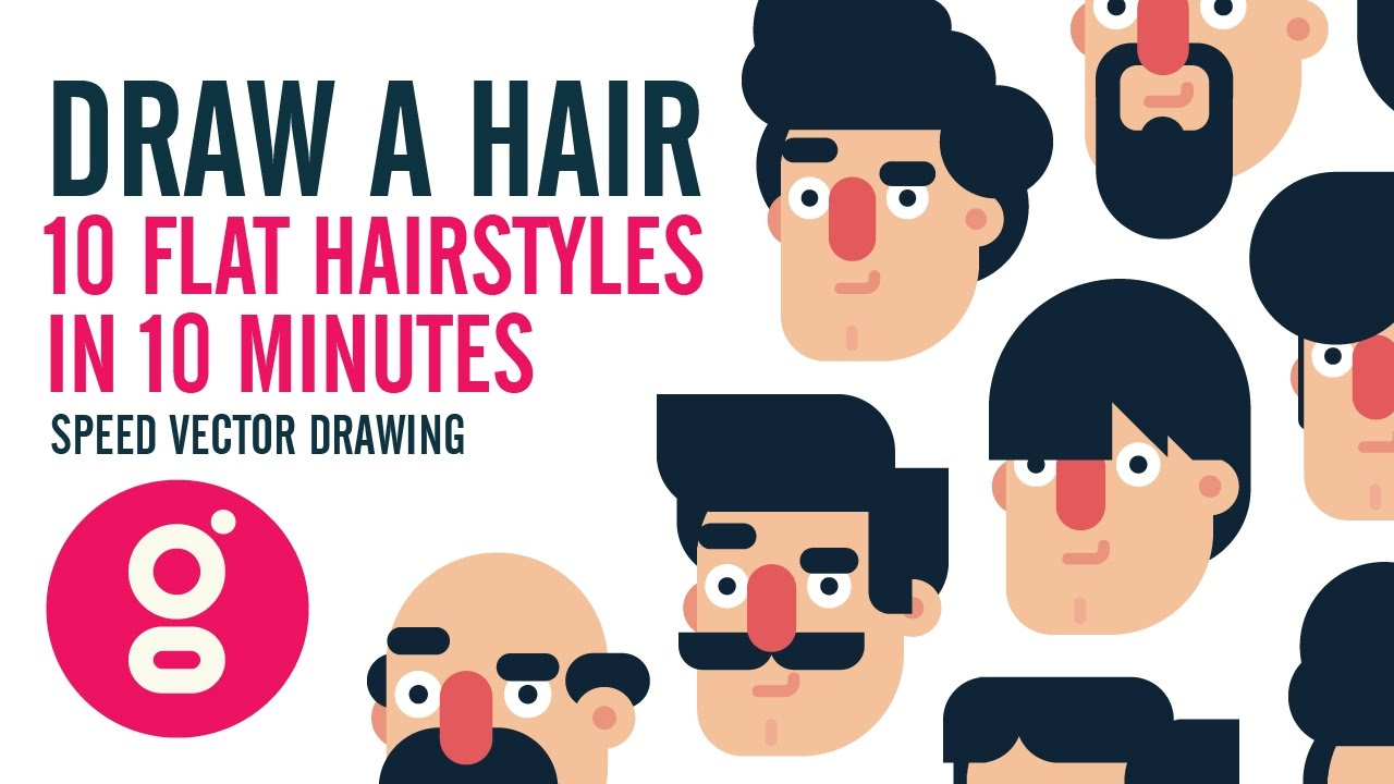 draw hair 10 flat design