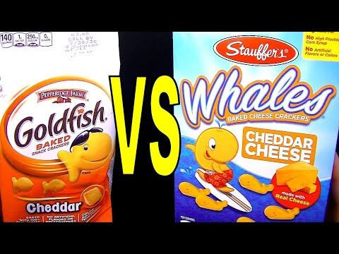 Goldfish Vs Whales Cheddar Cheese Crackers, Pepperidge Farm Vs Stauffer's, FoodFights Taste & Review