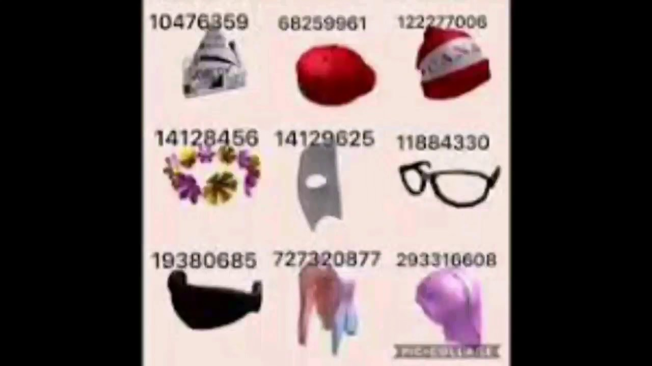 Roblox Hat Codes Roblox Face And Hat Codes Rhs Youtube