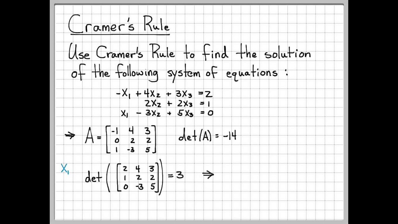 linear algebra example problems cramer 39 s rule youtube. Black Bedroom Furniture Sets. Home Design Ideas