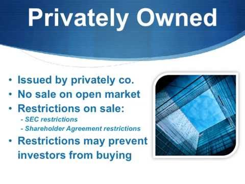 Find out about the types of stock and options for owners to sell.