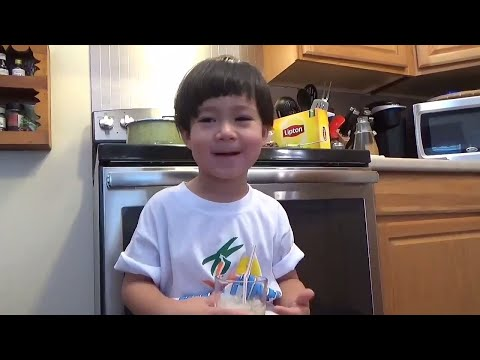 How to make honey lemon tea | Funny kid takes over the camera and plays with Legos