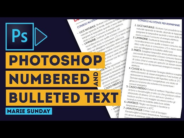 Photoshop Bulleted and Numbered Text