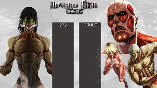 Download lagu Eren Yeager Vs All He Faced (Titans)/ His Fights Power Levels - Attack on Titan (AOT)  Power Levels