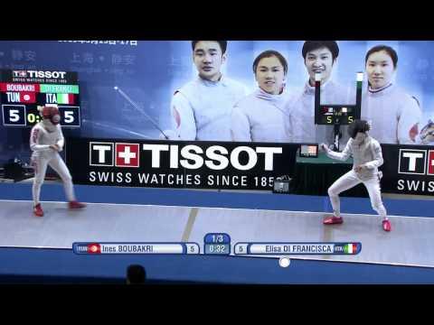 Shanghai 2015 WF GP Semifinal 02 podium Boubakri I TUN vs Di Francisca E ITA