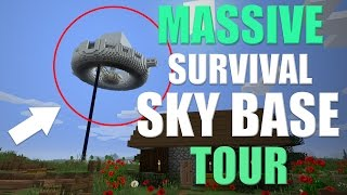 HUGE Minecraft SKY BASE TOUR | 100% Survival