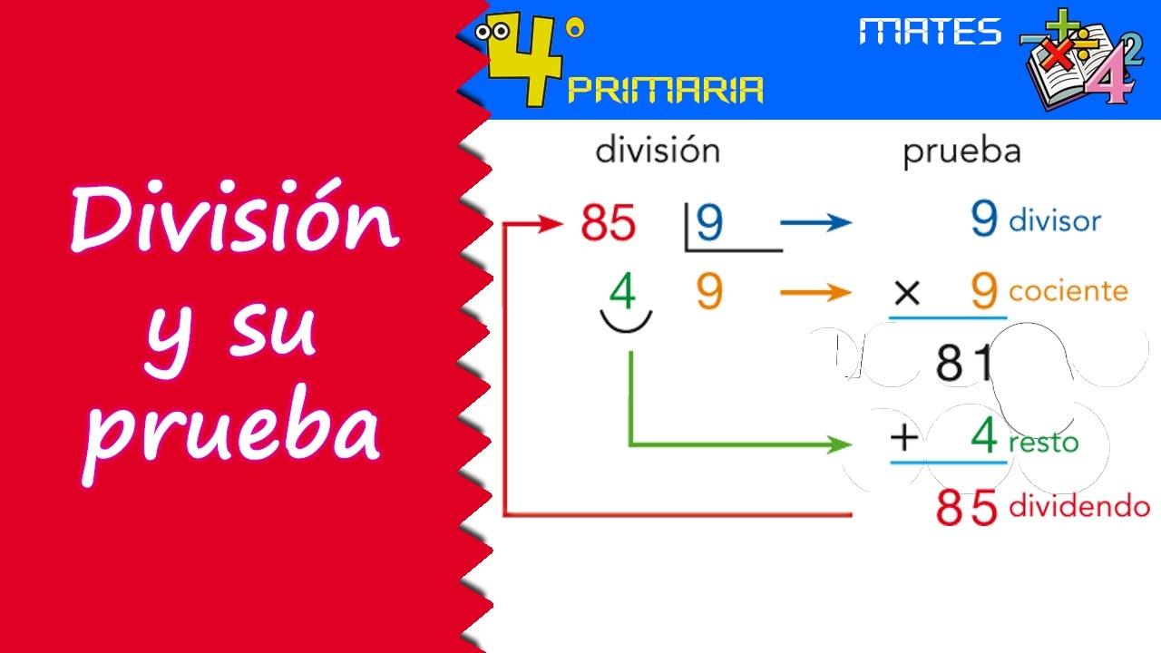 Matemáticas. 4º Primaria. Tema 4. La división y su prueba - YouTube