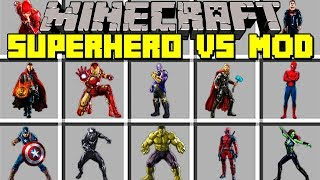 Minecraft SUPERHERO VS MOD! l THANOS VS SUPERMAN, CAPTAIN MARVEL, AVENGERS! l Modded Mini-Game