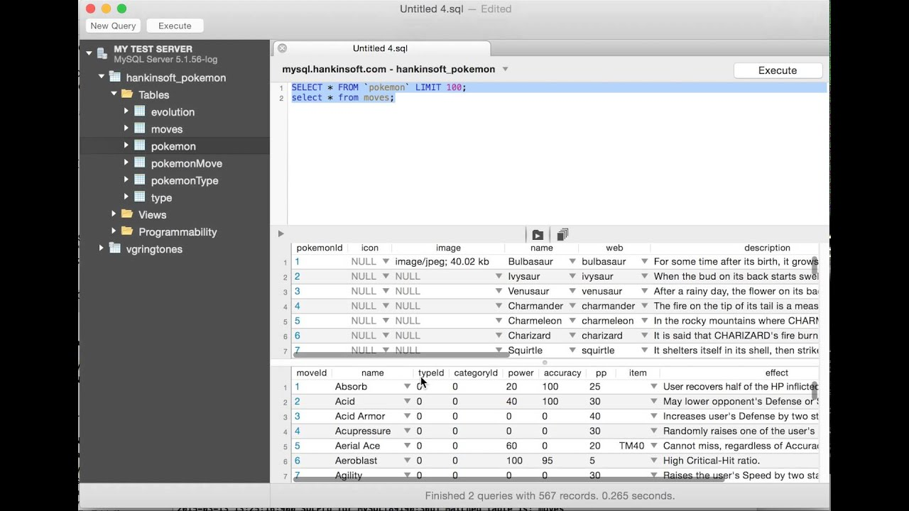 Sqlpro For Mysql Query Result Editing And Multiple Result Sets