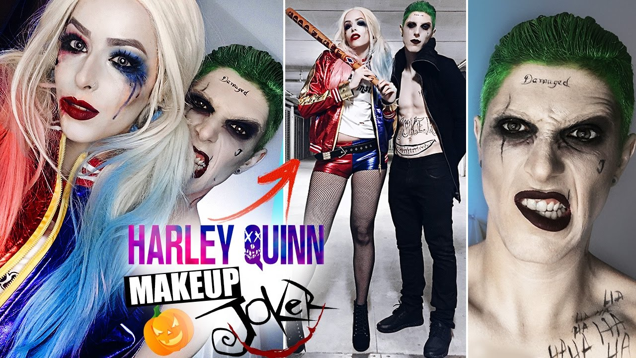 Harley Quinn And Joker Maquiagem Halloween Arlequina E Coringa Youtube