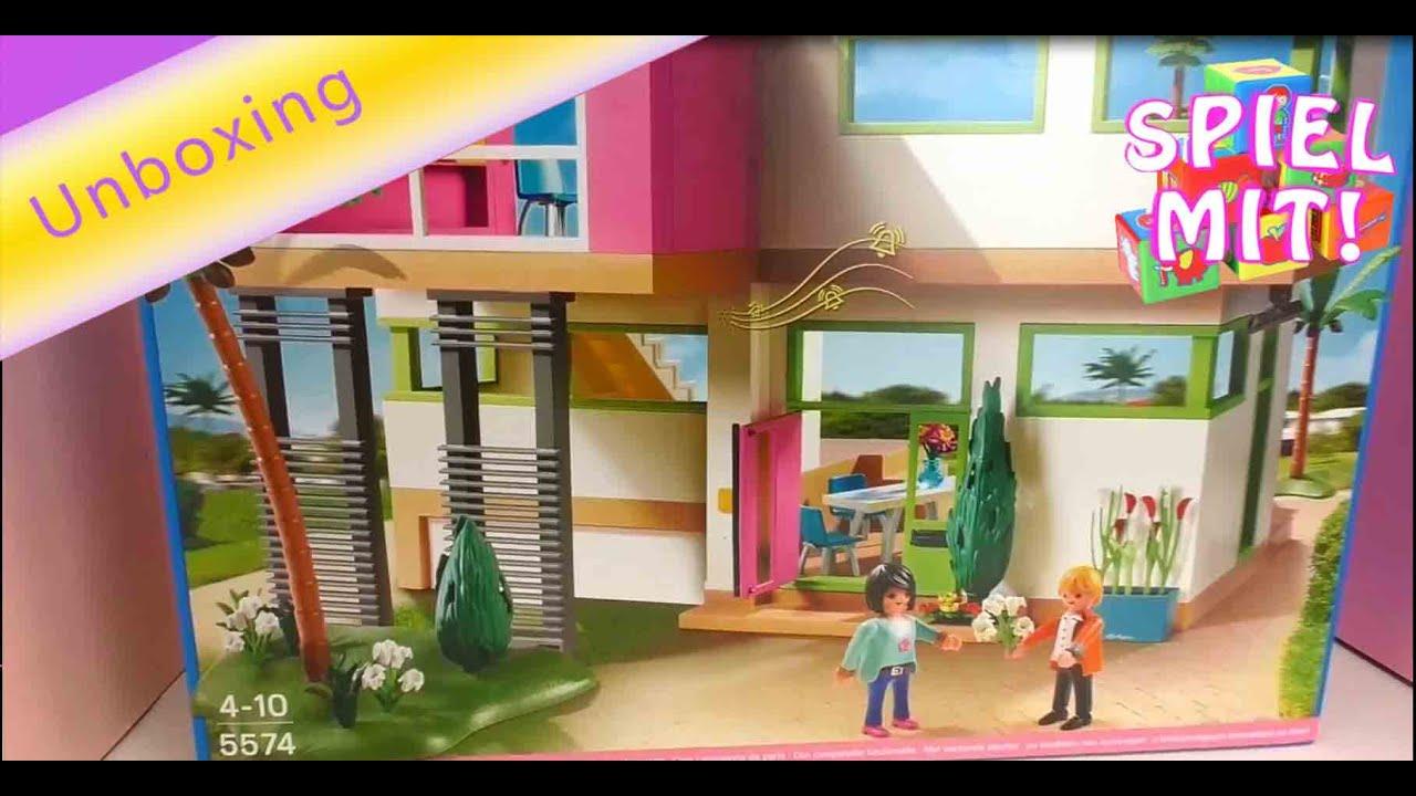 Playmobil moderne Luxusvilla deutsch  Wir packen die Playmobil City Life Villa aus  YouTube