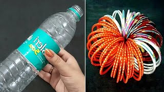 3 Superb Home Decor Ideas Out Of Waste Plastic Bottle and Old Bangles - DIY Home Decor Using Waste