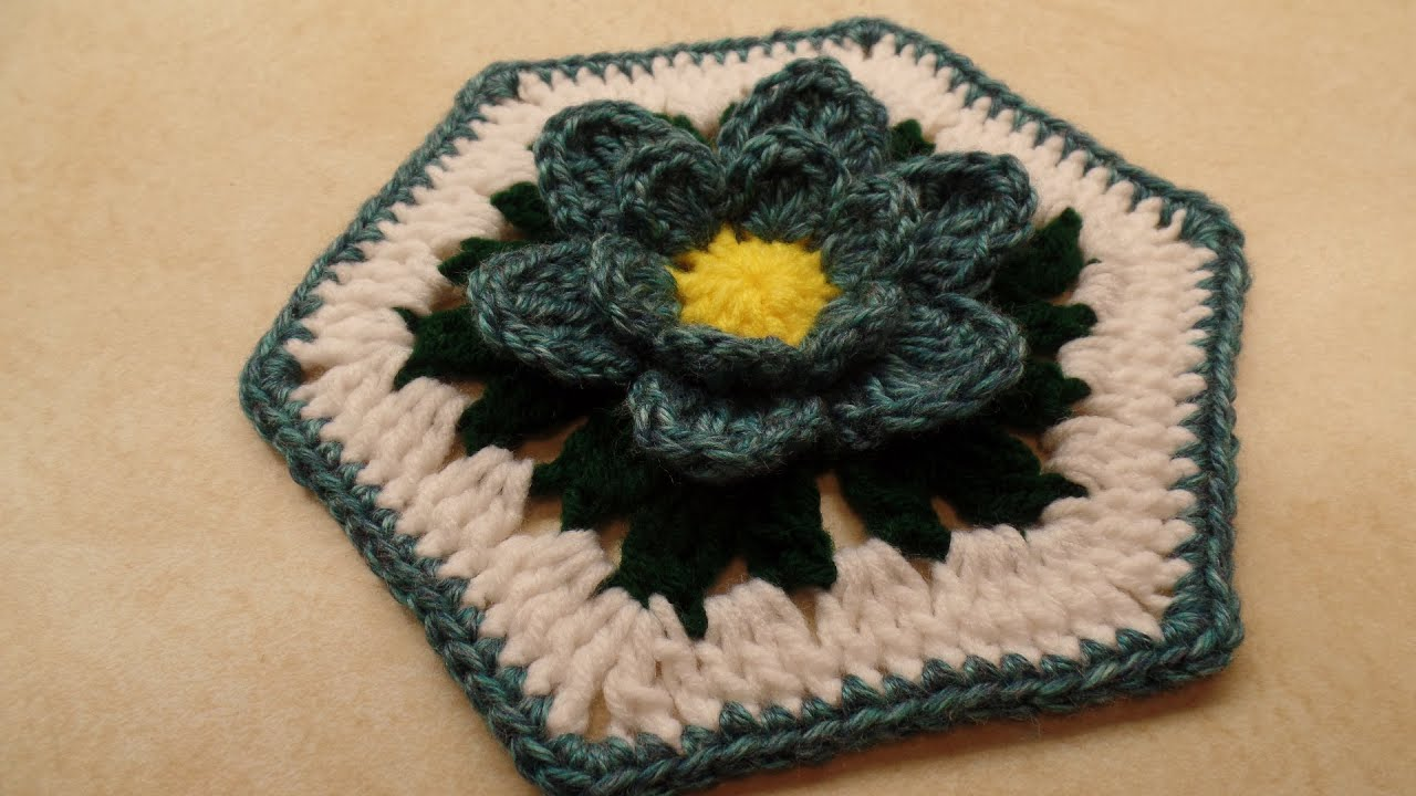 CROCHET How To #Crochet Blue Lotus Flower Granny Hexagon #TUTORIAL ...