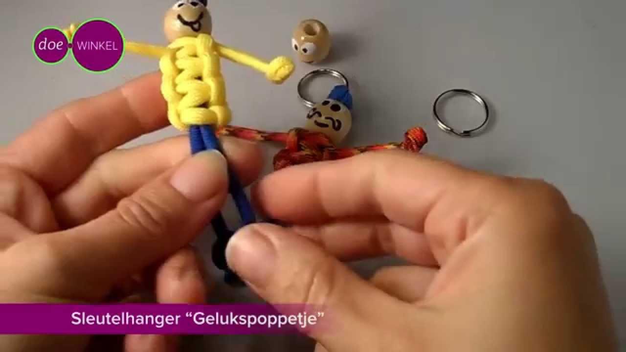 Zeer Paracord sleutelhanger: Gelukspoppetje - YouTube @UM08