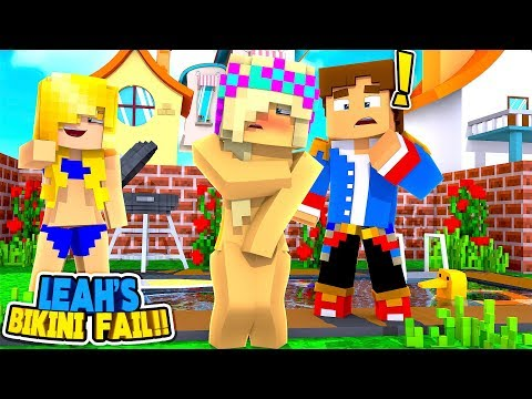 MINECRAFT POOL PARTY || LEAH'S BIKINI FALLS OFF IN THE POOL || Little Donny Roleplay