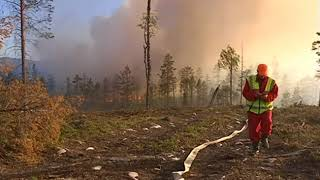Sweden forest fires, Ljusdal  wildfire, Alvdalen, Helicopters are watering the in bone-dry forests