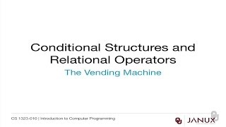Introduction to Computer Programming - Conditional Structures - Create a Vending Machine