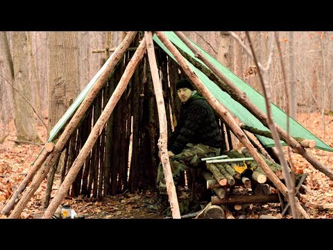 HD Bushcraft Video-Building a Large Semi-Permanent Shelter,