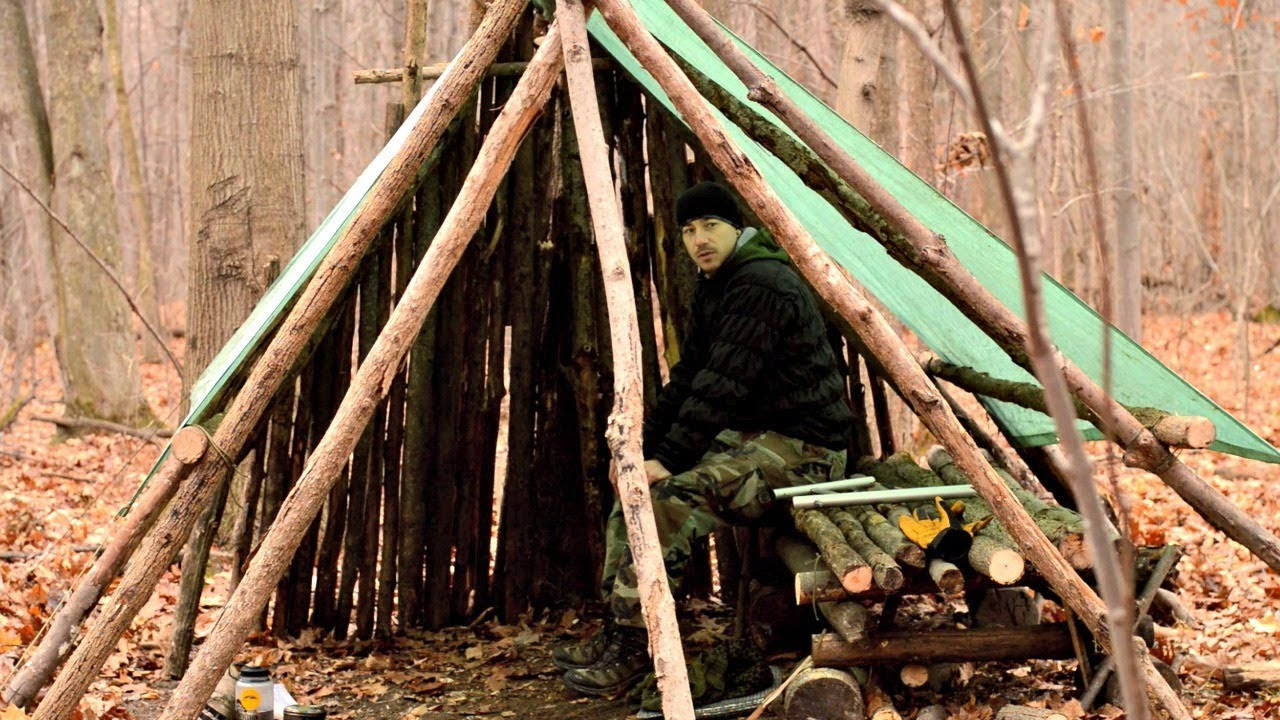 Permanent Outdoor Structure Shelter : Hd bushcraft video building a large semi permanent shelter