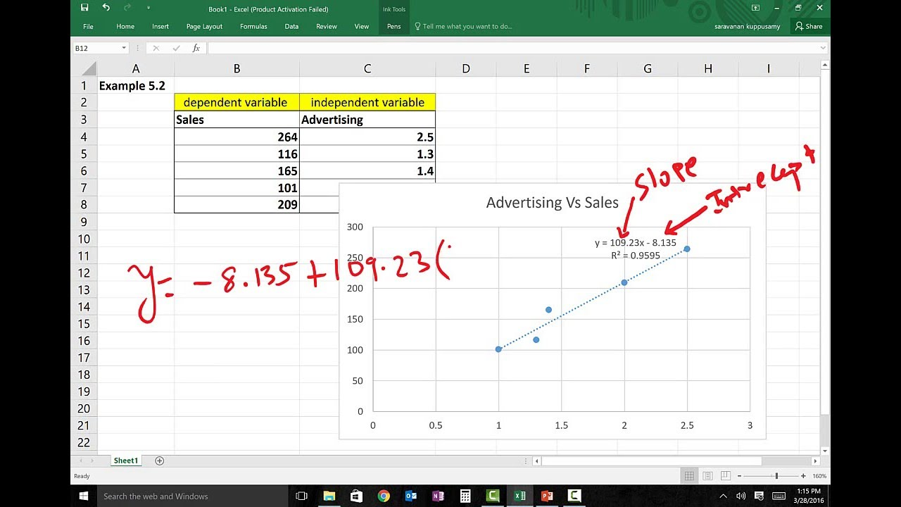 Simple Linear Regression Using Excel - YouTube