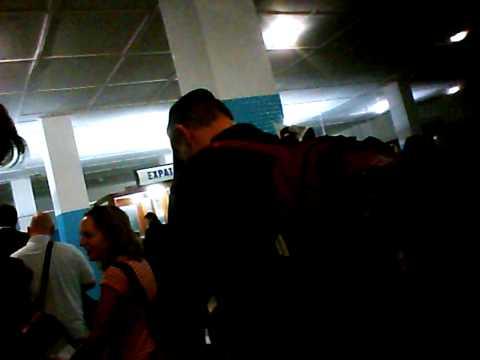 Pasport control in Kinshasa airport, hidden cam
