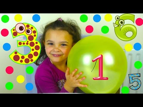 Learn Numbers 1-10  for toddlers in the Slime Baff ! Numbers Counting to 10 with Balloons and Slime
