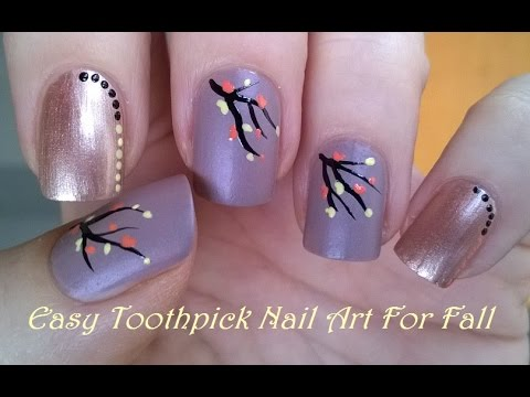 Easy toothpick nail art for fall glossy soft matte nails youtube prinsesfo Choice Image