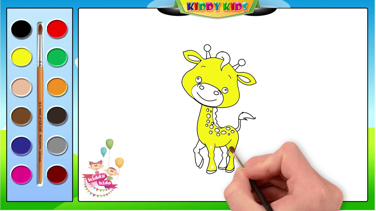How To Draw A Giraffe Step By Step Easy | Colouring Book ...