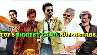 Top 5 biggest Superstar's Of Tamil Film Industry  Vijay,Rajinikanth,Suriya,Ajith kumar,Kamal ha