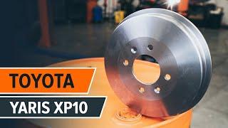 Hoe een achter remtrommel van remblokken vervangen op een TOYOTA YARIS XP10 HANDLEIDING | AUTODOC