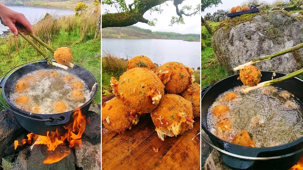 Crunchy Cheese Balls Cooked in nature! ASMR Cooking