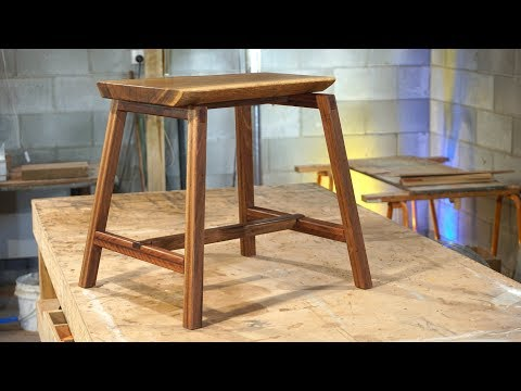 Wood Stool With Bridle Joints | Woodworking
