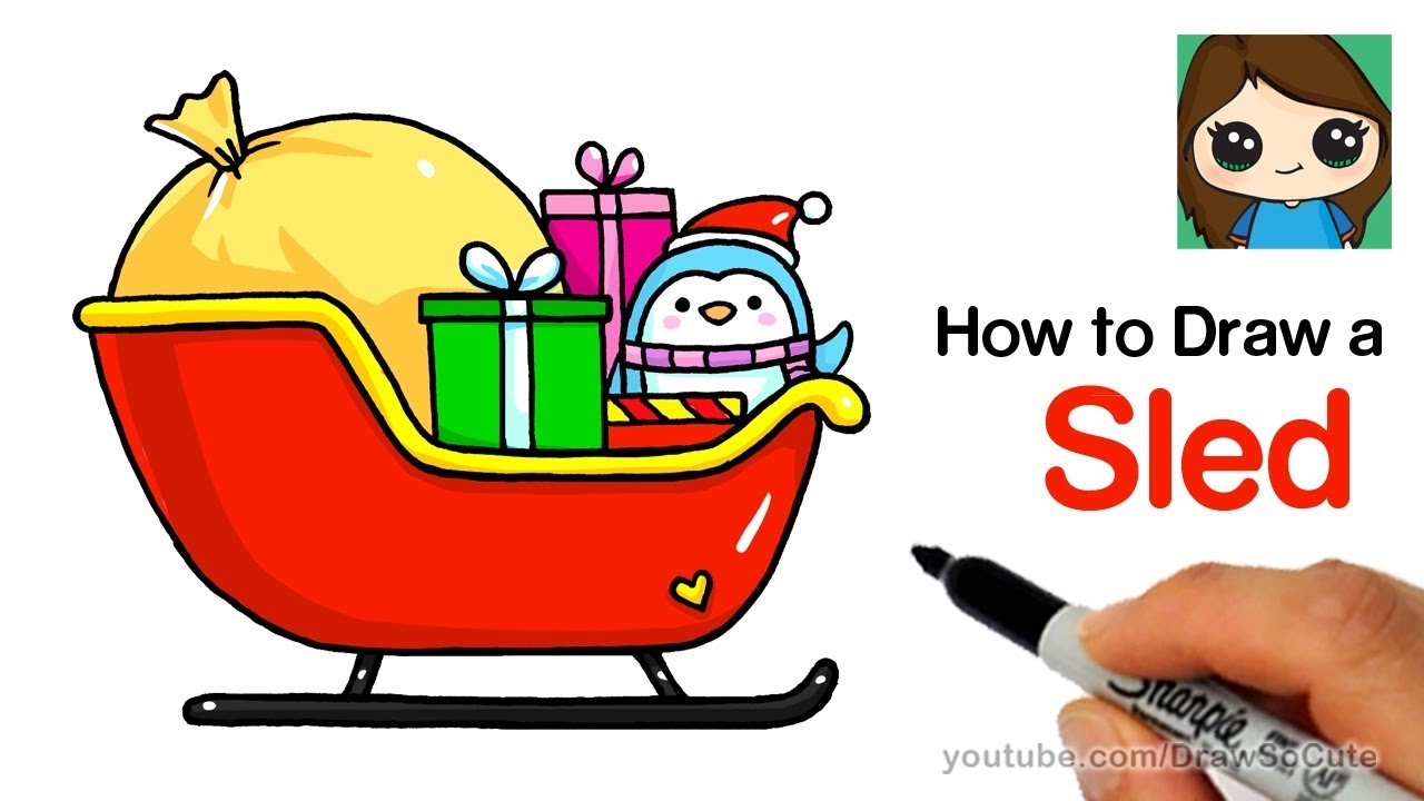 How To Draw A Christmas Sled Easy