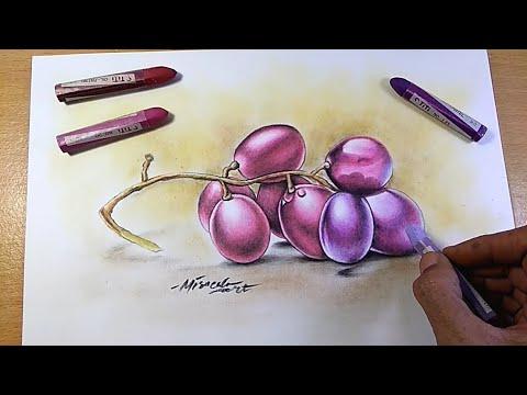 Download Cara Menggambar dan Mewarnai Buah Anggur dengan Krayon
