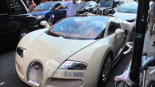Bugatti Veyron Grand Sport from Dubai arriving at Harrods in London