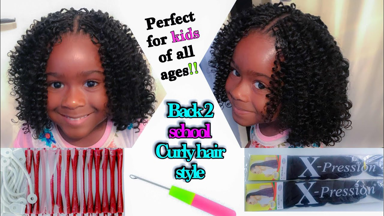 CUTE CURLY CROCHET BRAID FOR KIDS (BACK10SCHOOL HAIRSTYLE ) - YouTube