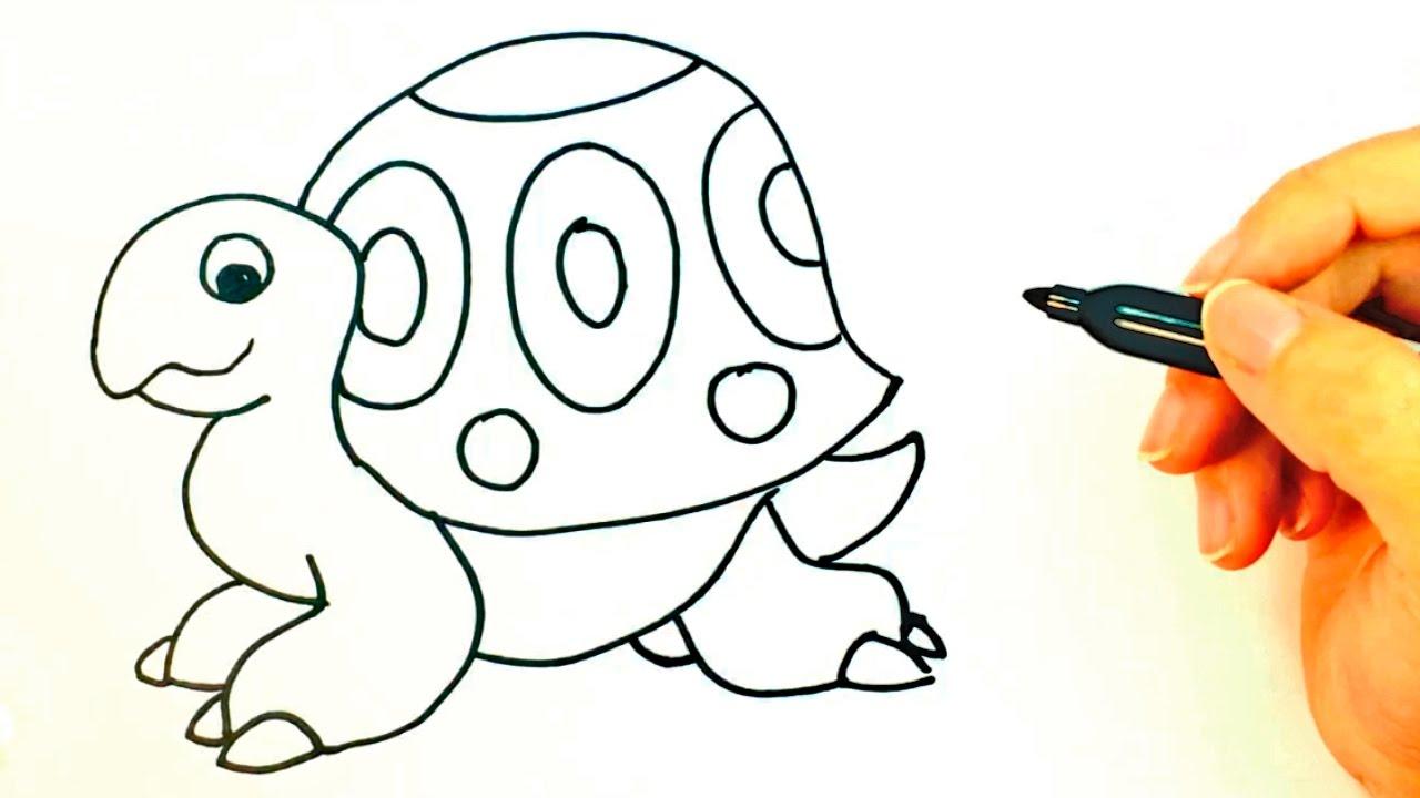 C mo dibujar una tortuga para ni os dibujo de tortuga - Dibujos unas de porcelana ...