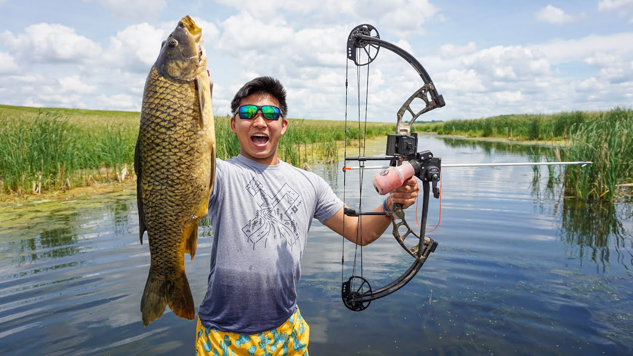 Bowfishing for GIANT INVASIVE Carp! (CATCH CLEAN COOK)