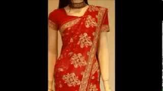 Bright red saree with gold embroidery  bridal Thumbnail
