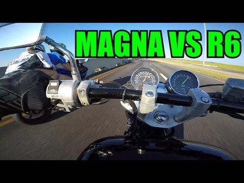 Honda Magna Vs. Yamaha R6 + Trying to Wheelie the Magna