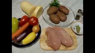 овощное рагу с куриным филе в духовке