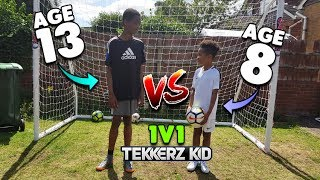 13 YEAR OLD vs 8 YEAR OLD Who Will Win  1v1 Football Challenge