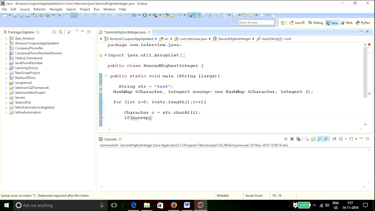 Selenium Interview Questions and Answers ~ java find first non repeating  charcater in a String