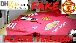 Fake DHGATE Manchester United 2018 player jersey unboxing/review ⚽🔥 Home kit!