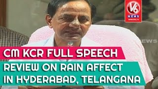 cm kcr full speech   review on rain affect in hyderabad telangana   v6 news