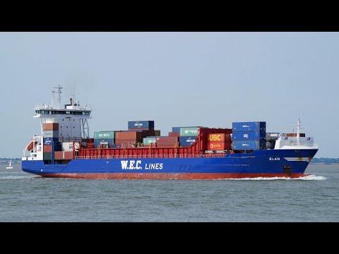 Feeder ship ELAN arriving at port of felixstowe 14/8/17