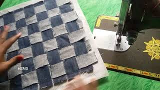 How to make simple jeans doormat l old jeans recycling ideas l carpet l rug l DIY handmade project